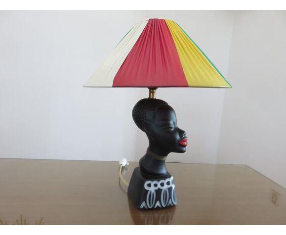 """Lampe """" femme africaine """" en céramique noir mat années 50 60"""