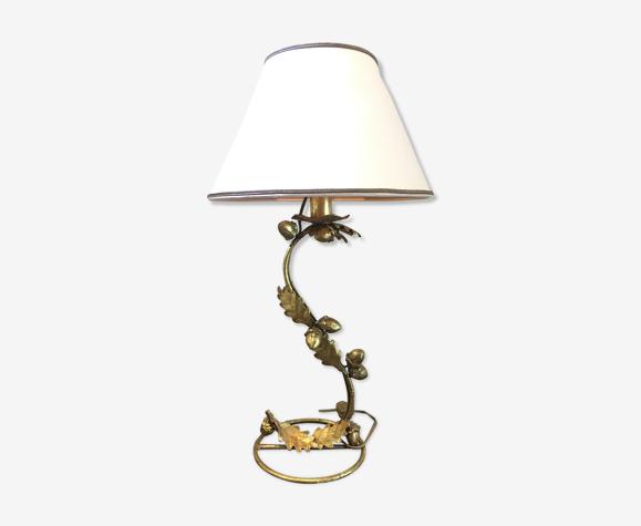 Lampe doré feuilles de chêne