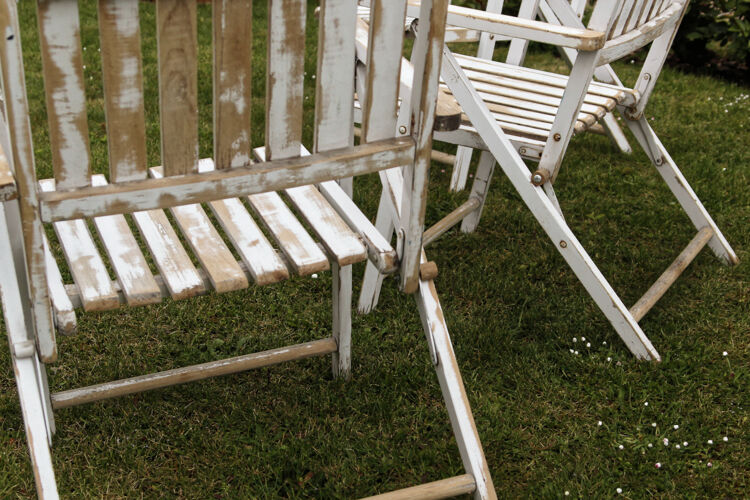 Lot of 3 wooden folding garden chairs - vintage