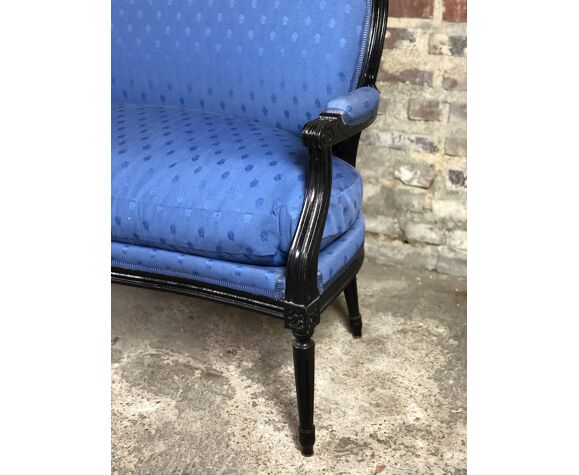 Louis XVI style bench in black wood and blue fabric