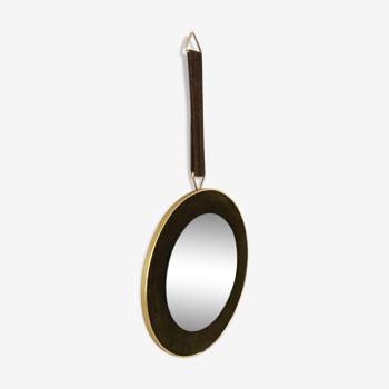 Miroir médaillon rond vintage années 60 - 65x34cm