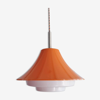 Suspension vintage en plastique orange 1980 Lakro