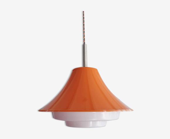Suspension vintage en plastique orange 1980 Lakro