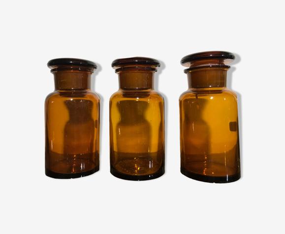 3 pots à pharmacie ambré