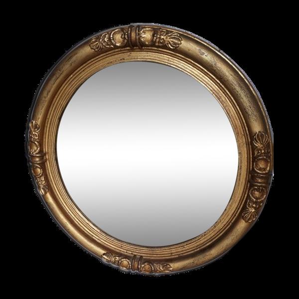 Miroir rond bois doré feuille or  Napoleon ep XIXem 58cm