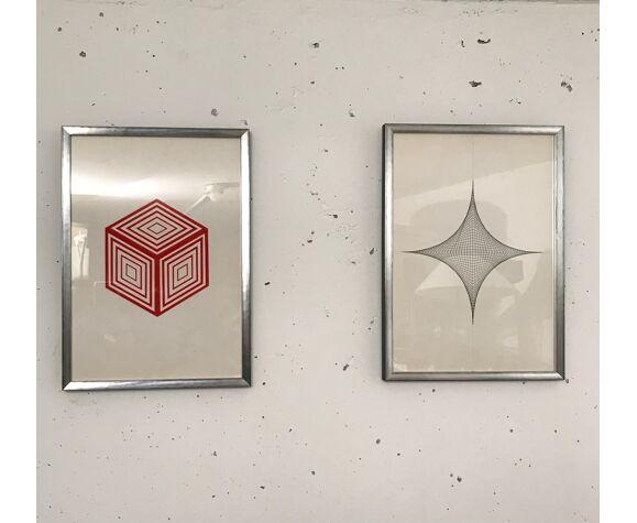 Série de deux dessins art cinétique anonyme 1970