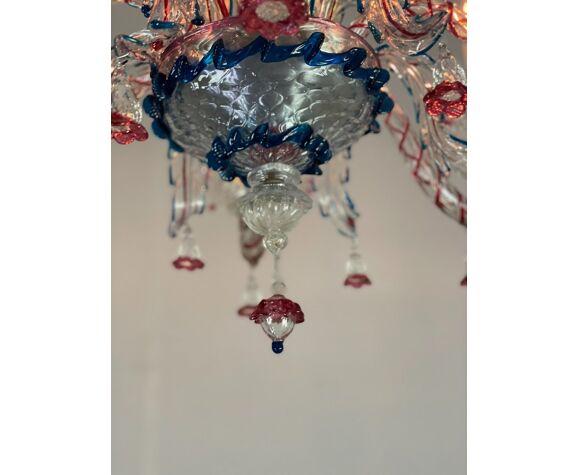 Lustre vénitien en verre de Murano multicolore 6 bras de lumière