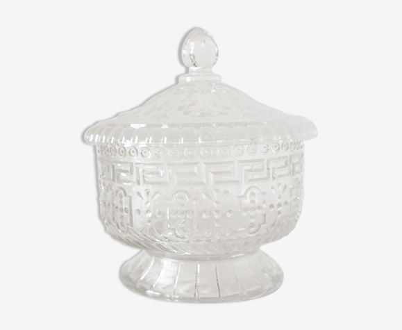Bonbonnière en verre ciselé ancienne