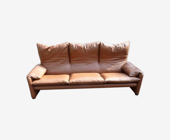 Canapé vintage cuir marron Maralunga cassina