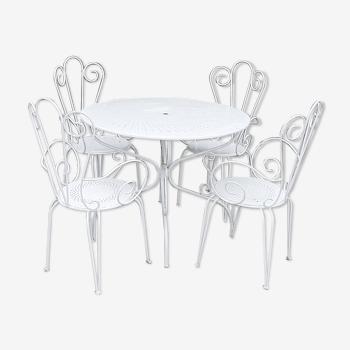 Salon de jardin 1 table 4 fauteuils en fer forgé blanc ancien.