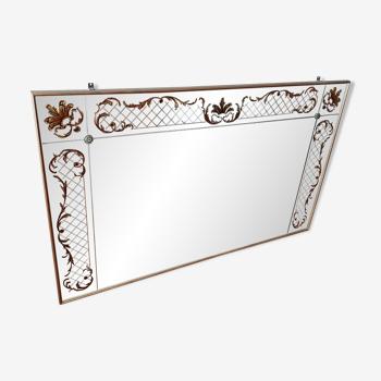 Miroir églomisé à décor floral 150x90cm
