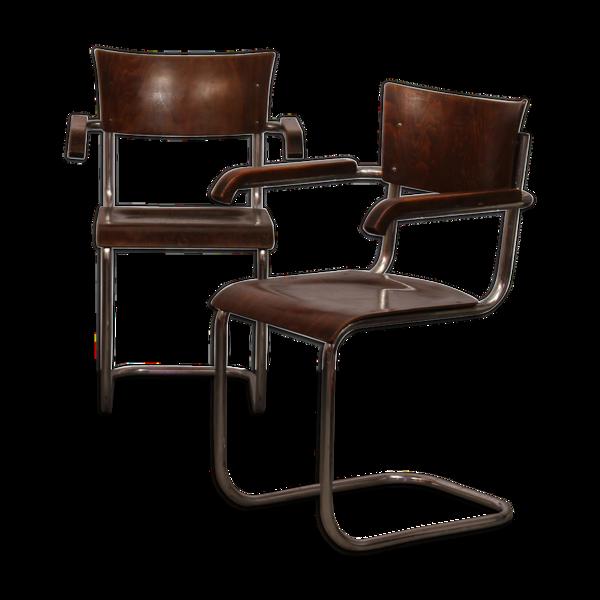 Paire de fauteuils par Mart Stam, fabrication tchèque, 1940