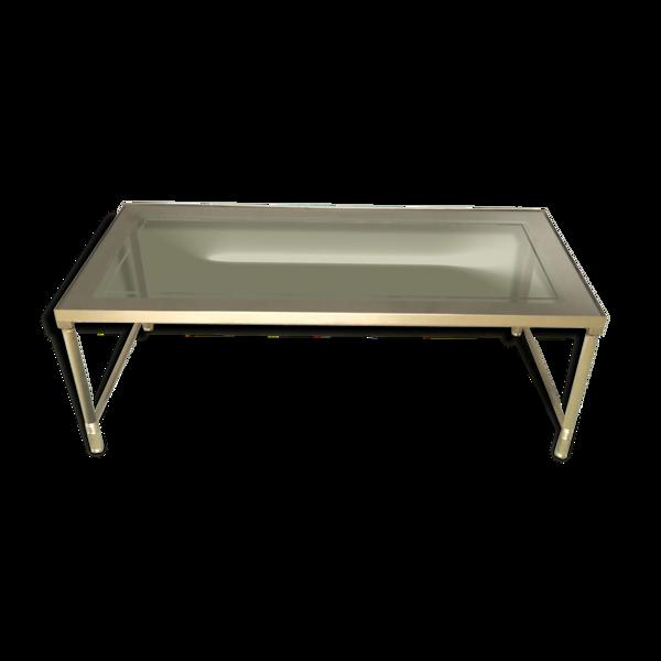 Table basse métal doré verre fumé miroir années 60