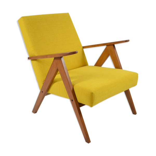 Fauteuil scandinave tissu jaune années 60