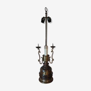 Lampe ancienne sur pied bois et laiton style steampunk