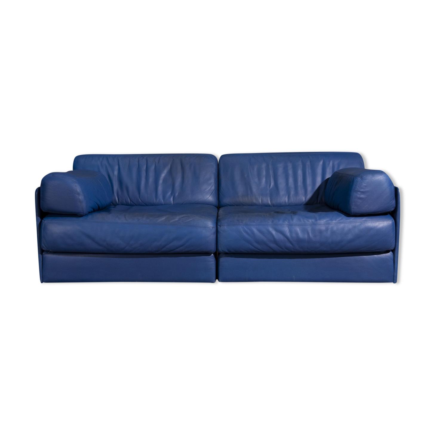 Canapé De sede DS76 en cuir bleu