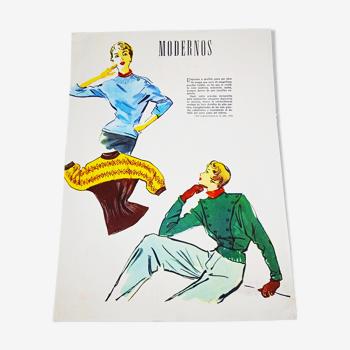 Affiche esquisse de mode années 40