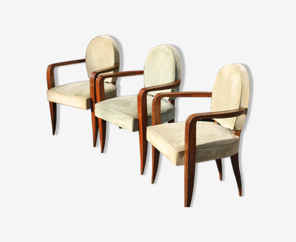 Suite of 3 art deco chairs Jean Pascaud