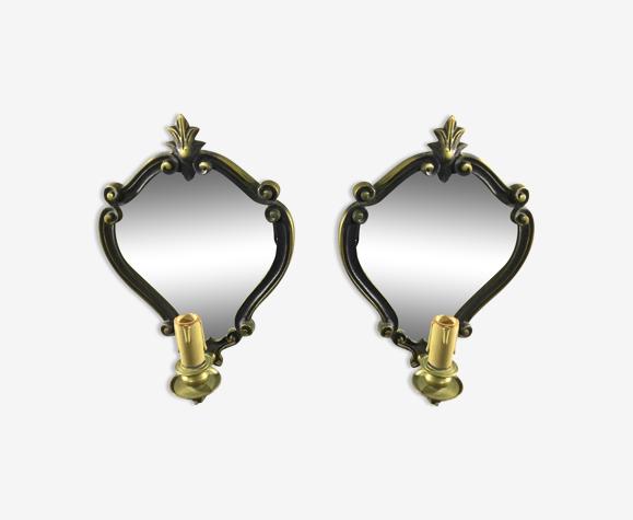 Paire d'applique miroir en bronze