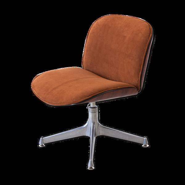 Chaise de bureau en bois de rose et cuir entièrement restaurée des années 1950 par Ico Parisi pour MIM