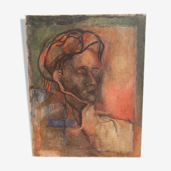 Portrait ancien, huile sur toile par Elisabeth Ronger