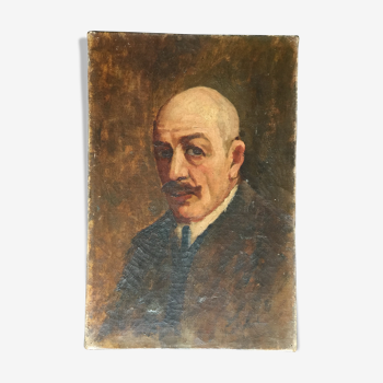 """Max Wulfart """"portrait d'homme"""" Huile sur toile vers 1920"""