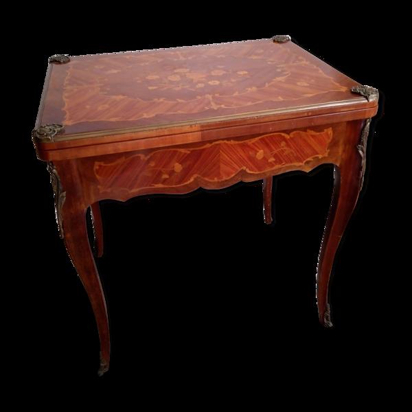 Selency Table à jeux en marqueterie Louis XV début XXème
