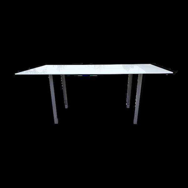 Selency Table vintage fer et verre opalin