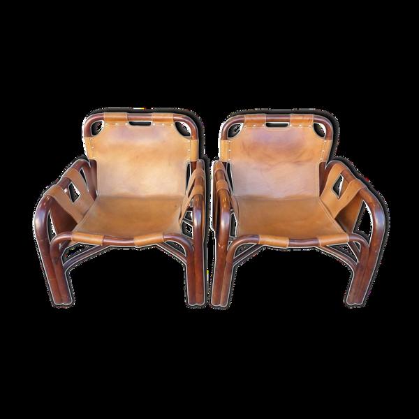 Paire de fauteuils en cuir italien vers 1960