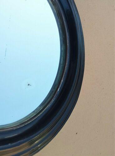 Miroir ovale laqué noir d'époque et de style Napoléon III fin XIXe 19x15,4 cm