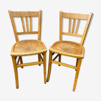 Paire de chaises bistrot bois courbé Baumann