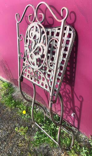 """Salon de jardin EN fer forgé """"croisillon"""" patiné vert de gris"""