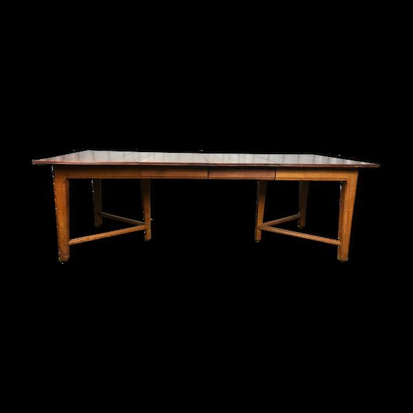 Selency Table à manger chêne massif 1950 avec 2 allonges