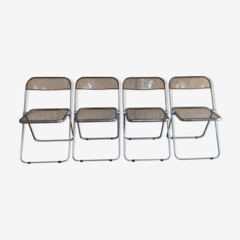 Lot de 4 chaises pliantes de Giancarlo Piretti pour Castelli