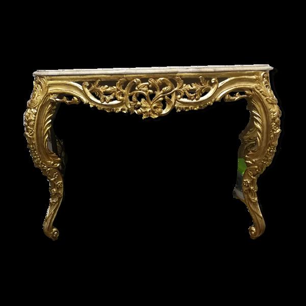 Console style classique coloris marbre beige et bois dore