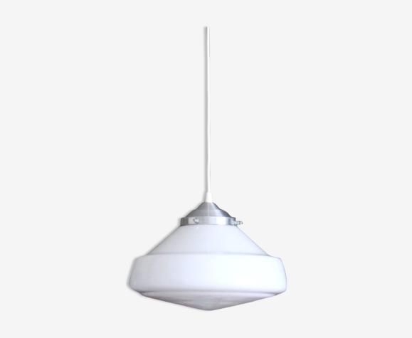 Suspension globe ancien verre opaline blanche luminaire industriel
