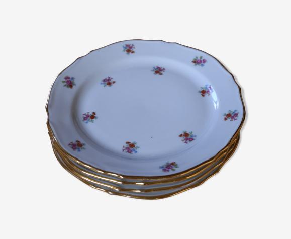 Set de 4 petites assiettes fleuries vintage en porcelaine francaise