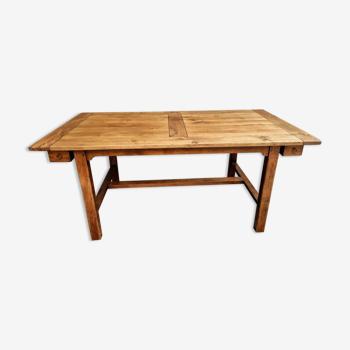 Table en chêne avec deux tiroirs