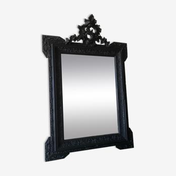 Miroir ancien patine noire 65x96cm