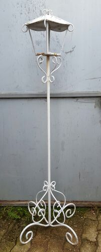 Old wrought iron garden floor lamp
