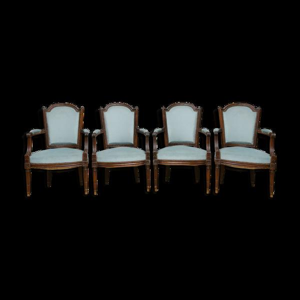 Set de 4 fauteuils cabriolet Louis XVI époque XVIIIe