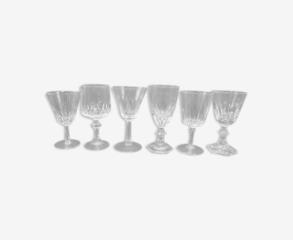 Set de 6 verres à pied dépareillés