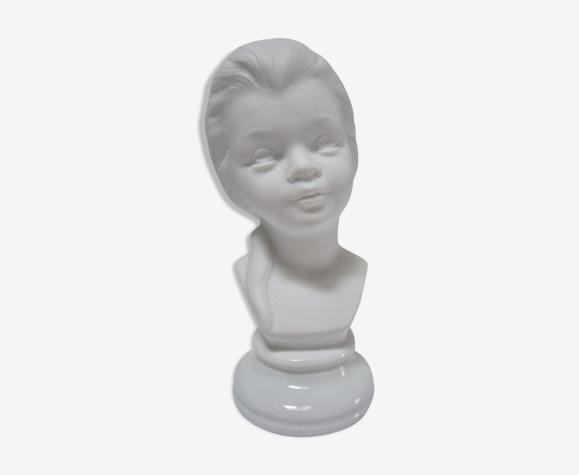Buste enfant petite fille biscuit porcelaine vintage