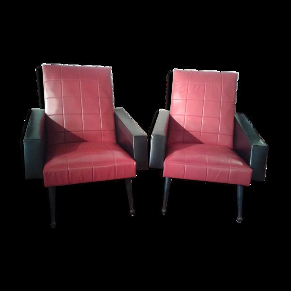 Paire de fauteuils vintage en skaï rouge et noir