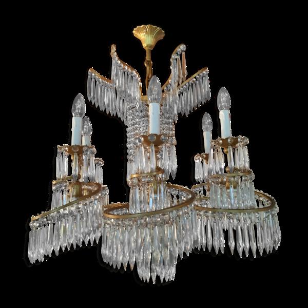 Lustre cristal, bronze et métal doré maison Baguès vers 1950