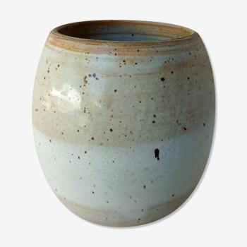 Vase vintage en céramique à glaçure beige