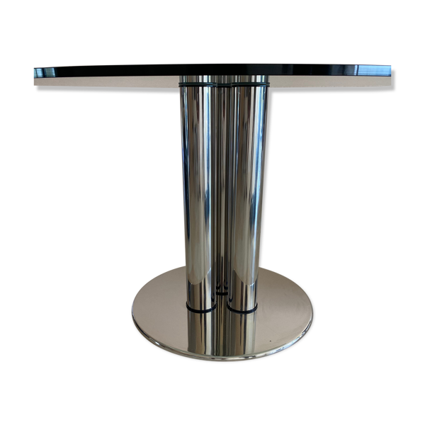 Table à repas zanotta en verre et acier inoxydable, marco zanuso - 1972