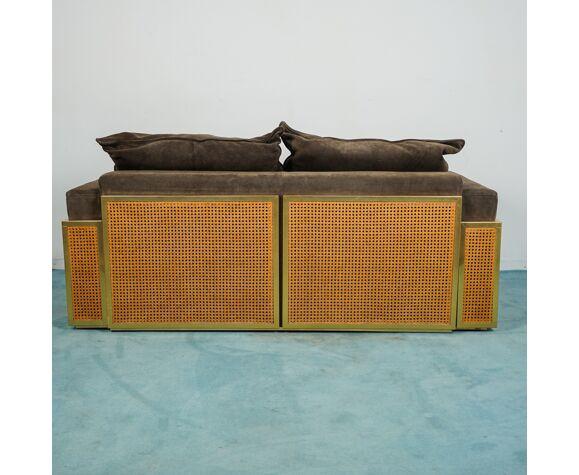 Salon 2 canapés 1 fauteuil en cuir daim design des années 70 modernié