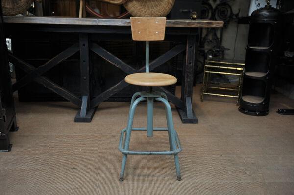 Anciennes chaises tournantes d'atelier industriel réglables 1950 ets hordoir lille ,couleur d'origin