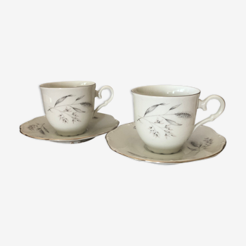 Lot 2 tasses et soucoupes porcelaine fine de bohème czechoslovakia carlsbad